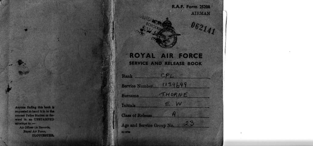 THORNE, Ernest WW2 RAF postal service book cover