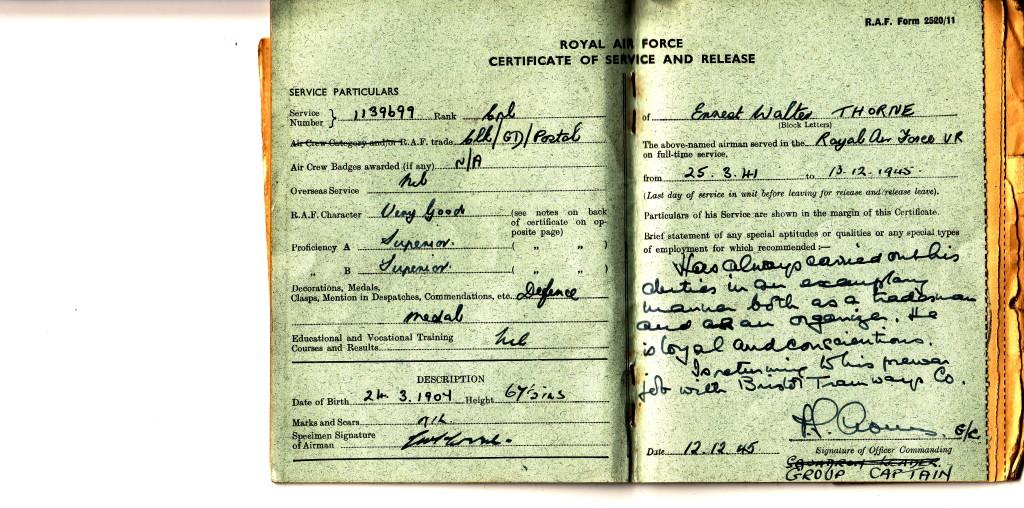 THORNE, Ernest WW2 RAF postal service doc